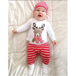 Wholesale Xmas Outfits - 3pcs set New INS baby Christmas Outfits cotton hat+Christmas deer printing top+Striped pants Xmas kids suit