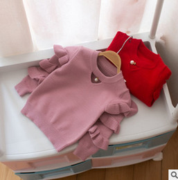 Wholesale Knitted Tops Baby - Baby sweater winter kids tiered falbala long sleeve knitting princess pullover christmas children pearl hollow cotton sweater tops R0150