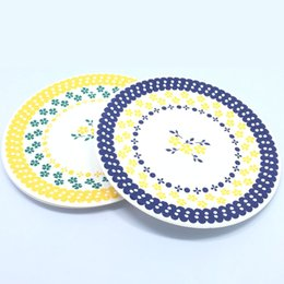 Wholesale Metal Dinner Plates Wholesale - Wholesale-30pcs lot 7 inch Disposable Paper Dinner Plate Plum Flower Cake Dish Birthday Wedding Nursery Party Supplier