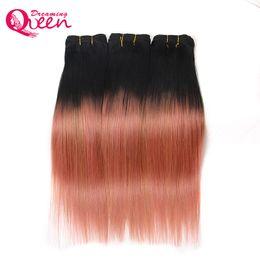 cheveux vierges d'or Promotion Extensions de tissage de cheveux raides brésiliens raides de couleur or rose Or rose 100% cheveux humains vierges 3 faisceaux Ombre cheveux tissage livraison gratuite