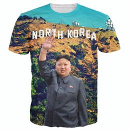 Wholesale Korea Top Tee - Wholesale-Raisevern 2016 brand new t shirt 3D print North Korea Kim Jong Un tee shirt casual short sleeve t-shirts men women fashion top