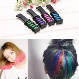 Wholesale Hair Chalk Set Dhl - Mini Hair Color Comb 6 Colors Set Fashion Permanent Chalk Powder With Comb Temporary Hair Mascara with Retail Box Free DHL