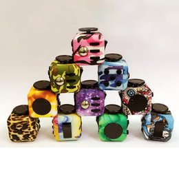 Wholesale Plastic Dice Toy - NEWEST Fidget Cube Camouflage Wood Grain 10 Styles Anti Anxiety Stress Cube Fidget Dice Decompression Toy OTH388 free shipping
