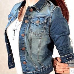 Wholesale Woman Short Jean Coat - Wholesale- Women Long Sleeve Coat Slim Denim Short Vintage Casual Jean Jacket Lady Fashion Outerwear Tops