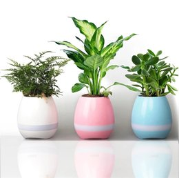 Wholesale Lighting Potted - 2017 bluetooth Smart Music Flower pots intelligent real plant touch play flowerpot colorful light long time play bass speaker Night light