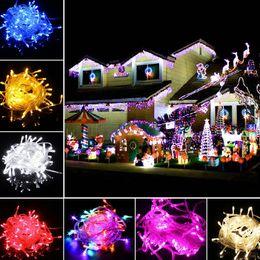 2019 luces de navidad seguras Promoción LED Tiras 10M cadena Decoración Luz 110V 220V para la boda del partido llevó la iluminación centelleo luces de decoración de Navidad cadena de luces