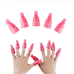 Wholesale Nail Wrap High Quality - High quality New 10PC Plastic Nail Art Soak Off Cap Clip UV Gel Polish Remover Wrap Tool