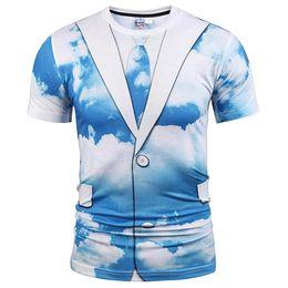 Wholesale clouds shirt - 3D T shirts Hot Sell T-shirt Men Women Cartoon Tshirt Print Clouds Suit Jacket Fake Two Pieces T shirt Summer Tops Tees