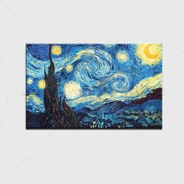 Wholesale Vincent Van Gogh Abstract - Framed Starry Night by Vincent Van Gogh,Hand Painted Art Oil Painting On Quality Canvas.Multi sizes Available Free Shipping Vg024
