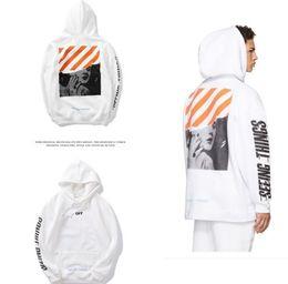 Wholesale Offset Size - 2017 Off White Orange Mens Pullover Zebra Stripe Offset Print Hoodies Fleece Sweatshirts Monroe Painting Seeing Things Hoodie Size M-XXL