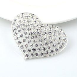 Wholesale Brooch Pin Clip Silver - Wholesale- Silver Heart brooches Rhinestone Brooch For Women Wedding Bouquets Collar Clip Scarf Buckle Hijab Pins