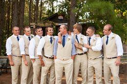 Wholesale Men S Beach Wedding - Wholesale- Latest Coat Pant Designs Champagne Casual Beach Custom Wedding Suits For Men Groom Best Man Slim Fit 2 Piece Terno Vest+Pants517