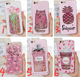 Wholesale Wholesale Cups Plates - Glitter Liquid Quicksand case pineapple cup perfume bottle flower heart sparkle Flamingo case For iPhone 7 6 6S plus 7PLUS plating cover