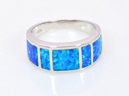 Wholesale Jewelry Blue Stone Rings - Wholesale & Retail Fashion Fine Blue Fire Opal Ring 925 Silver Plated Jewelry For Women RMF16032601