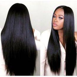 На складе средней части парик моделирования красоты человеческих волос парик длинные шелковистые прямые естественный цвет полный парик для черных девочек cheap black girls human hair wigs от Поставщики черные волосы человеческих волос парики