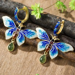 Wholesale Green Jade Butterfly Earrings - 925 Sterling Silver Earrings New Nation style retro Cloisonne Jasper retro Butterfly Earbob