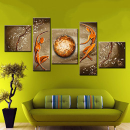Wholesale Power Panels - power of love! 5 panels modern abstract home decoration canvas figures oil painting yellow hand made sofa wall picture