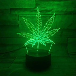 Wholesale Gift Button Box - wholesale free shipping Leaf 3D Illusion LED Lamp ,Night Light 7 RGB Colorful USB Powered AA Battery Bin Touch Button, Dropshipping Gift Box