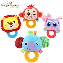 Wholesale Hand Held Toys - Wholesale- Happy Monkey baby hand holding jelly rattles baby bells 0-1 plush toys animal modeling rattles WJ539