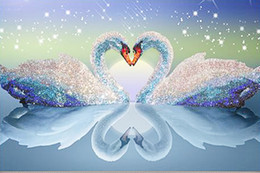 Wholesale picture paintings living room - 5D DIY Diamond Painting Kits Round Rhinestone Draw Diamond Embroidery Animals Swan Cross Stitch Kit Mosaic Picture Cygne in Love A2957