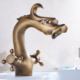 Wholesale Dragon Handle - Extravagant Antique Brass Dragon Faucet Artistic Brass Bathroom Faucets Two Handles One Hitter ArtisticFaucets factory direct sale