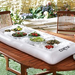 Wholesale 135 cm Inflatable Salad Serving Buffet Bar Outdoor Lounge Buffet Picnic Cooling Float Cooler Tray Drink Holder Perfect For Pool Party