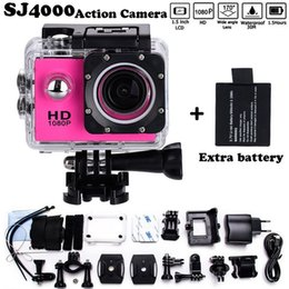 "Wholesale Dvr Full - 2x battery Mini Camcorder go hero pro style 1080p Full HD DVR SJ4000 30M Waterproof Action Camera 2.0""LCD Screen Free shipping"