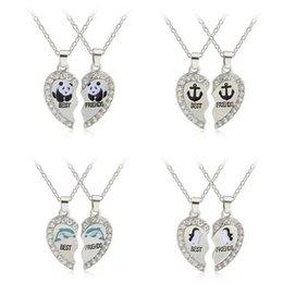 Wholesale Dolphin Necklace Mix - Hot sale Explosion panda dolphin penguin anchor pendant love diamond necklace WFN405 (with chain) mix order 20 1set=2 pieces