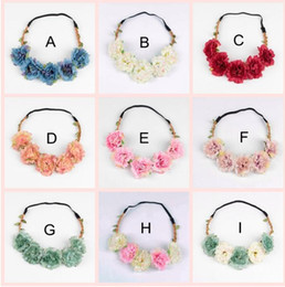 Wholesale Head Garlands - Travel Beach Leaves flower crown Colorful Wedding Garlands Bridesmaid Bridal Headband Bohemia Head Flower Girl Hair Accessory