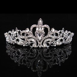 Wholesale Heart Beading - Bridal Crown Bridal Headpieces Wedding Party Tiaras Crown With Rhinestone Crystal Beading Crown Bridal Accessories Free Shipping