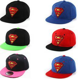 Wholesale Edge Active - Hot Selling Kids Hip Hop Hats Flat Edge Ball Caps Sports Bboy Snapback Baseball Caps Adjustable Fashion Superman Hats Cool Boys Girls