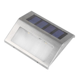Wholesale Ourdoor Led Light - Wholesale- 4 sets 3 Leds Solar Power Lamp Wireless LED Waterproof Ourdoor Garden Stairway Path Solar Wall Step Stair Deck Light Lamp