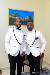 Wholesale Cheap Men S Blazer Jackets - Cheap Wedding Tuxedos Single Button Leisure Blazers White Tuxedo Jacket Black Lapel Groom Wedding Suit Wedding Suits For Men