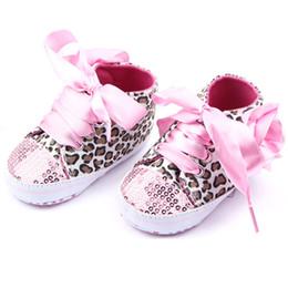 Wholesale Kid Sequin Ties - Wholesale- Baby Girl Shoes Bling Toddler Baby Leopard Sequin Sneakers Girl Kid Shoes Prewalker 3 Colors