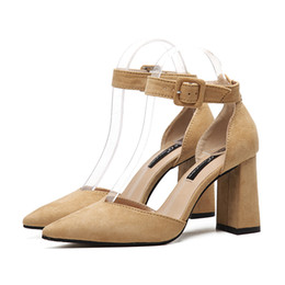 Wholesale Nice Sandals - Nice hot lady dress sandals party shoes high quality buckle pointed toe chunky heel office shoes Free Shipping YonDream-366
