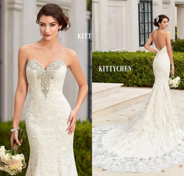 Wholesale Sweetheart Lace Button Mermaid Dress - Kittychen 2017 Sexy Mermaid Backless Lace Wedding Dresses Sweetheart Beaded Crystal Chapel Train Vestidos De Noiva Beach Bridal Gowns