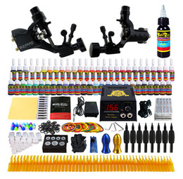 Wholesale Complete Tattoo Guns - Beginner Complete Tattoo Kit 2 Professional Tattoo Machine Kit Rotary Machine Guns 54 Inks Power Supply Needle Grips Set