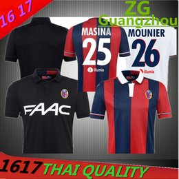 Wholesale Men Shirts Washed - Wholesales 15 16 Bologna home jersey custom name number top Thai 3AAA quality MASINZA MOUNIER uniforms football shirts clothing