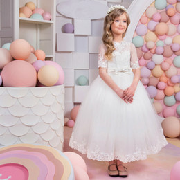 Wholesale Hot 14 Years Girls - 2018 Hot Selling White Flower Girl Dress Mesh Party Wedding Princess Summer Girls Dresses Bow Children Clothes 2-14 Years