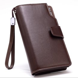 Wholesale long handle purses - PULRBD Leather Wallet Long Purse Wallet Luxury Male Genuine Long Style Multi-card Zipper Wallet Large capacity of business handle bags DHL