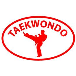 Wholesale Stickers Train - Wholesale 10pcs lot Korea Taekwondo Martial Kicks Arts Sport Oval Car Sticker for Truck Window SUV Door Stadium Training Field Vinyl Decal