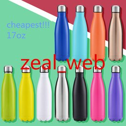 Wholesale Double Wall Bottle - Cheapest !!!17oz Cola Shape Portable Water Bottle Double Wall Stainless Steel Vacuum Insulated Bowling shape Travel Water Bottle