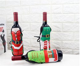 Wholesale Champagne Party Favors - Christmas Wine Bottle Cover Mini Apron Xmas Santa Claus Table Decoration Elk Deer Red Wine Champagne Decoration Party Favors Gift 2017