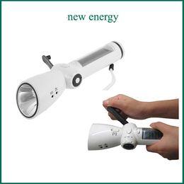 Wholesale Portable Generator Charger - New Portable Fashion Patent Flashlights Generator Solar Hand Crank Dynamo Powered Flashlight Phone Charger Radio Bright Camping Light Tourch