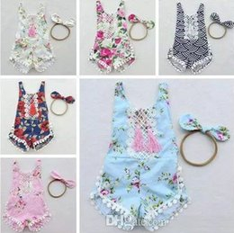 Wholesale Flower Fringe - 2017 summer floral fringe toddler girls rompers set cotton lace baby romper + headband flower print jumpsuits newborn onesies infant clothes