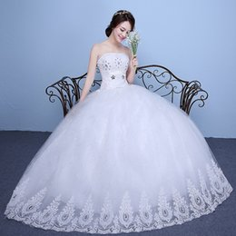 Wholesale Strapless Organza Embroidery Beaded Princess - Hot Sale Ball Gown Embroidery Beaded Wedding Dresses Strapless Princess Crystals Puffy Red Wedding Gowns Gown Prioda