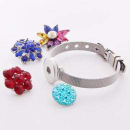 Reloj pulsera de acero 18mm online-Nuevo producto 18 mm Noosa Button acero inoxidable pulseras reloj de la joyería correas estilo pulseras pulseras para botones de broche de bricolaje