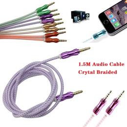Алюминиевый динамик онлайн-1M аудио кабель Crytal плетеный тканые 3.5 мм AUX вспомогательное расширение алюминиевого сплава шнур между мужчинами для iPhone Samsung динамик MP3 cab203