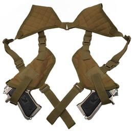 Wholesale Gun Sling Wholesale - New design EDC Left Right Hand Tactical Nylon Holster Gun Under Arm Shoulder Double Pistol Gun Holster Pouch
