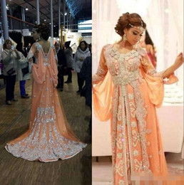 Wholesale Two Piece Abaya - 2017 Elegant Kaftan Abaya Arabic Evening Dresses Beaded Sequins Appliques Chiffon Long Formal Gowns Dubai Muslim Prom Dresses